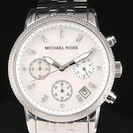 Michael Kors Stainless Steel Chronograph Quartz Wristwatch With Mother of Pearl