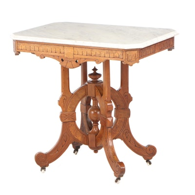 Victorian Eastlake Mahogany Marble Top Table, Late 19th Century