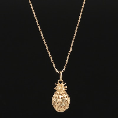14K Yellow Gold Pineapple Pendant Necklace