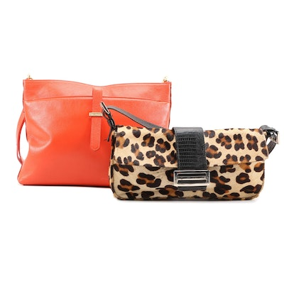 Brahmin Orange Leather Crossbody and Carla Mancini Animal Print Calf Hair Bag