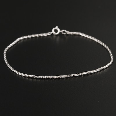 10K White Gold Wheat Chain Bracelet