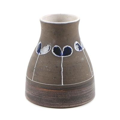 Thomas Hellstrom for Nittsjo Swedish Stoneware Vase, Vintage