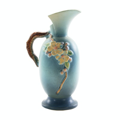 "Roseville Pottery Blue ""Apple Blossom"" Ewer, 1950s"