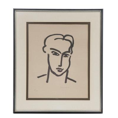 "Lithograph after Henri Matisse ""Grande Tête de Katia"", Mid-20th Century"