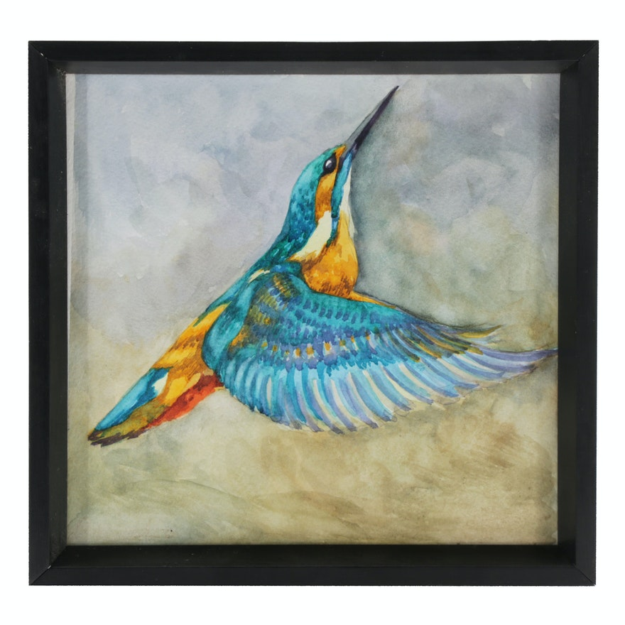 Watercolor Painting of a Hummingbird