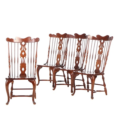 Virginia House Queen Anne Style Cherry Spindle Back Side Chairs