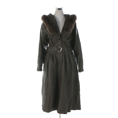 Brown Leather Coat with Fox Fur-Trimmed Hood