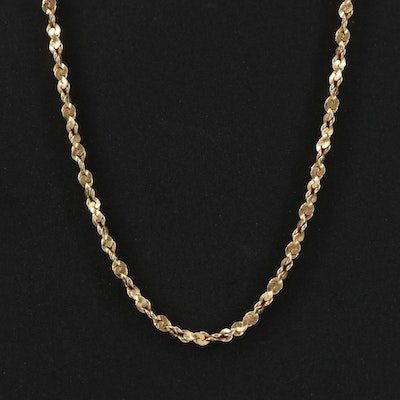 14K Yellow Gold Twisted Serpentine Chain Necklace