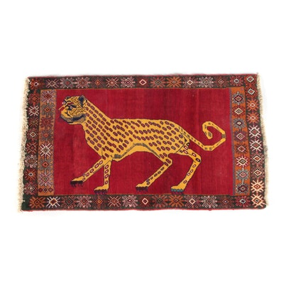3'4 x 5'11 Hand-Knotted Persian Qashqai Pictorial Wool Rug