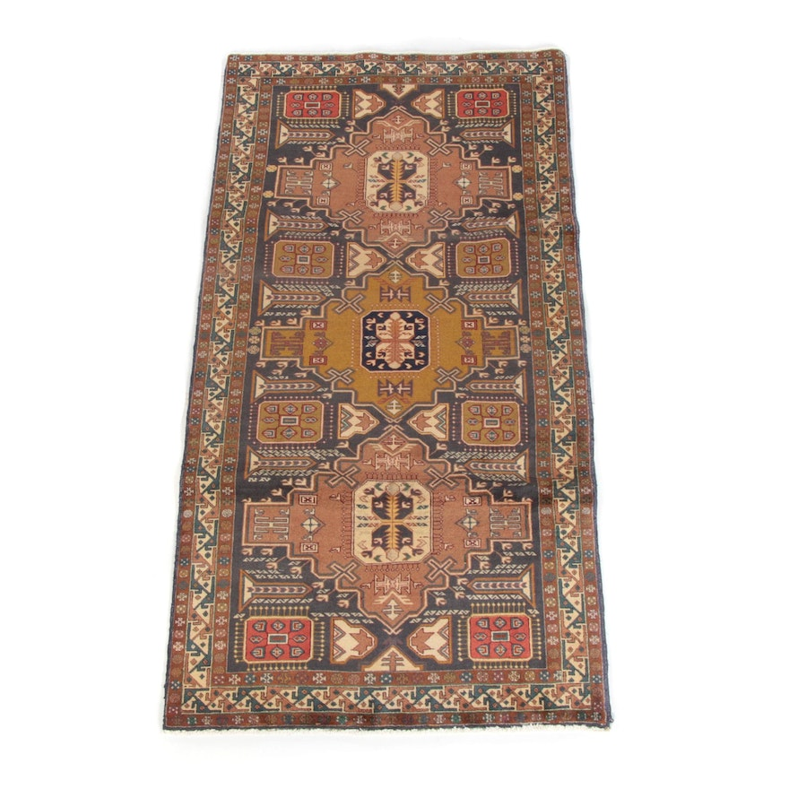 4'11 x 9.5 Hand-Knotted Persian Shirvan Wool Rug