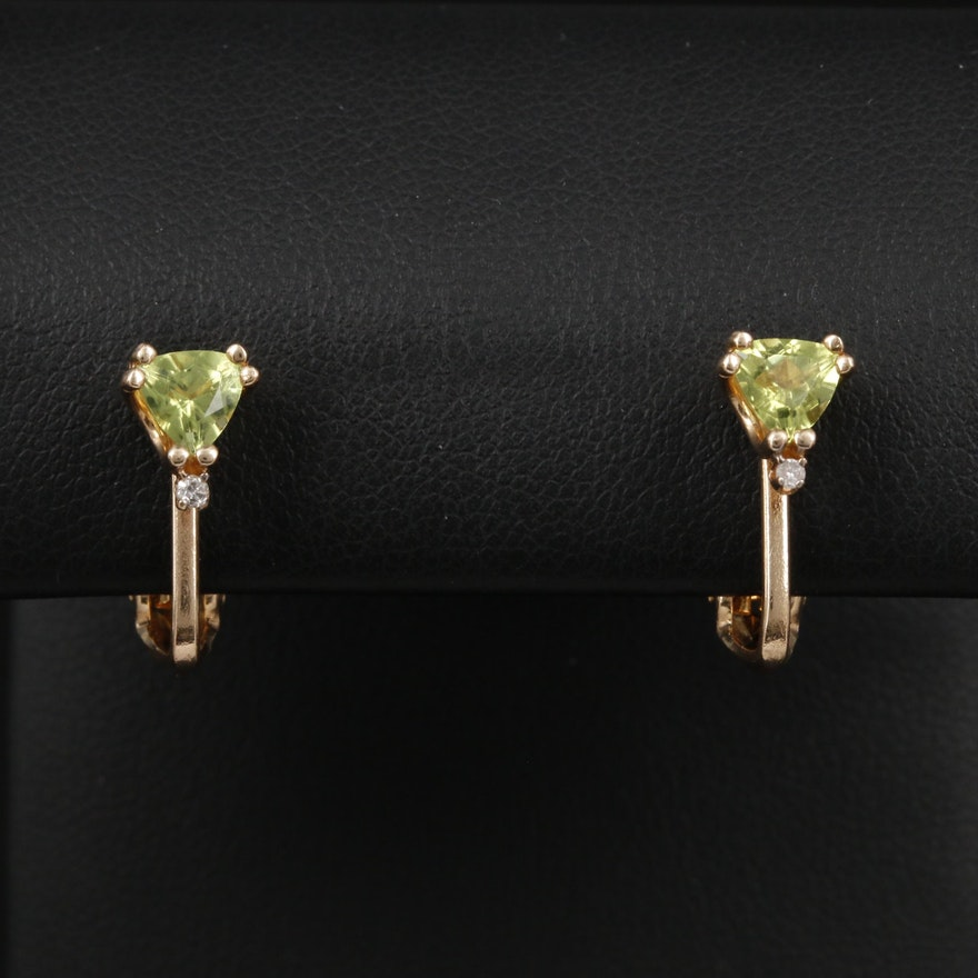 14K Yellow Gold Peridot and Diamond Non-Pierced Earrings