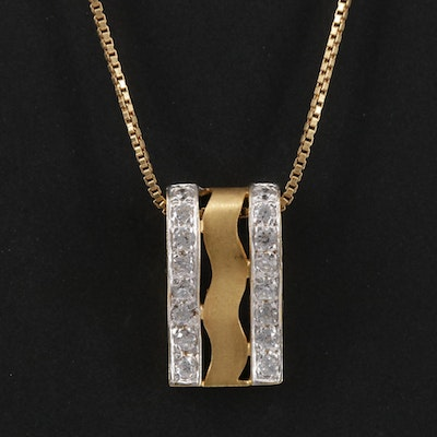 18K Yellow Gold Cubic Zirconia Pendant On 14K Yellow Gold Box Chain Necklace