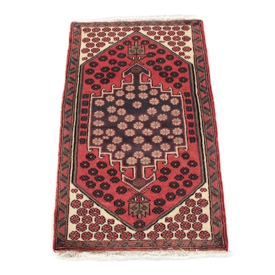 2'4 x 4'0 Hand-Knotted Persian Karajeh Wool Rug