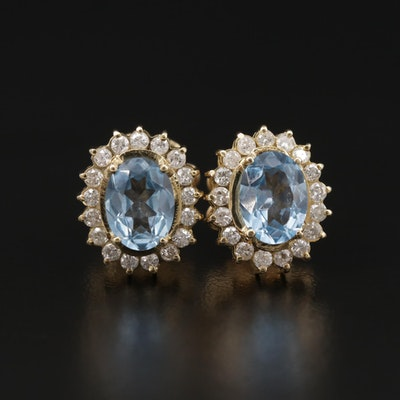 14K Yellow Gold Topaz and Diamond Earrings