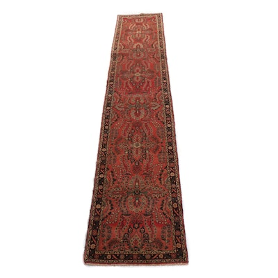 2'8 x 15'4 Hand-Knotted Persian Lilihan Carpet Runner, 1970s