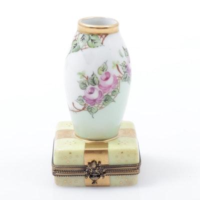 Porcelain Hand-Painted Miniature Vase Limoges Box