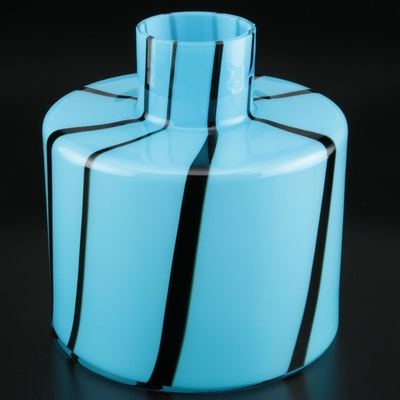 Polish Modern Black and Blue Art Glass Vase