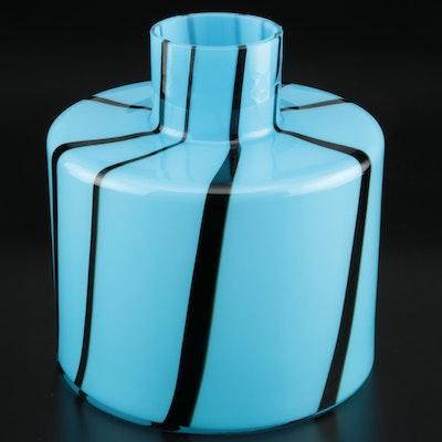 Polish Modern Black and Blue Art Glass Vase