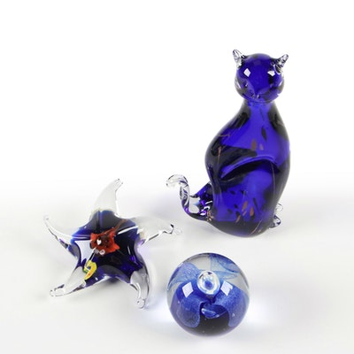 Venetian Art Glass Paperweight with Cat and Starfish Figurines