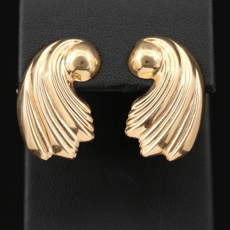 14K Yellow Gold Scalloped Earrings