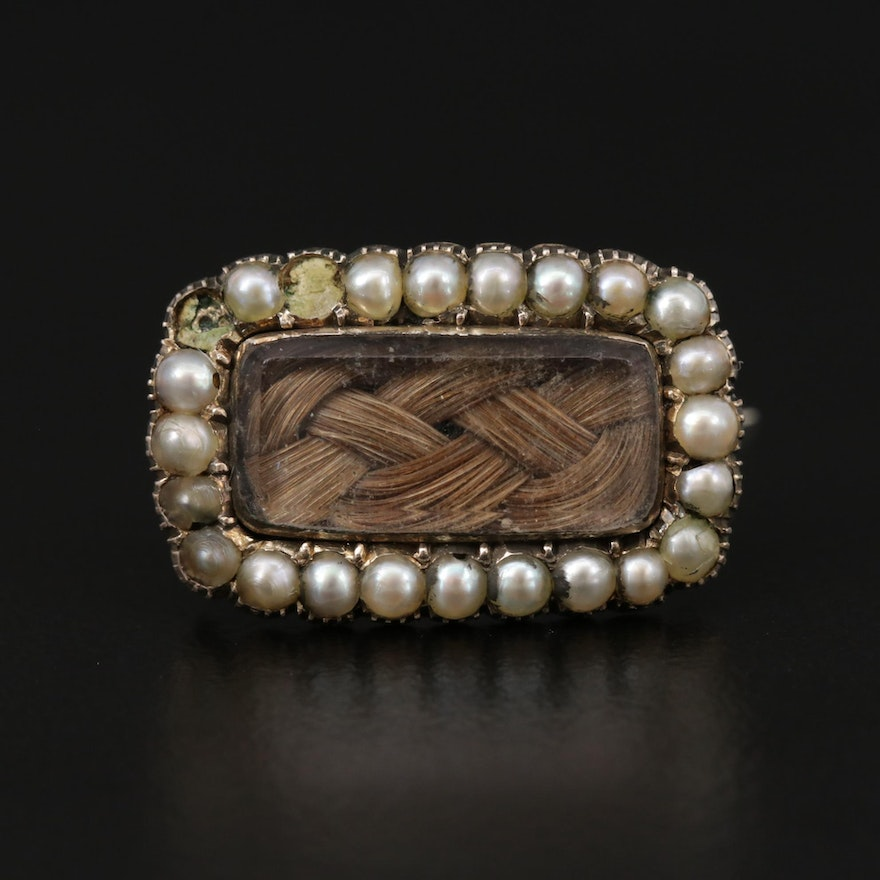 Victorian 14K Yellow Gold Seed Pearl Mourning Brooch