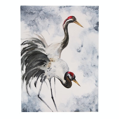 Watercolor Painting of Cranes