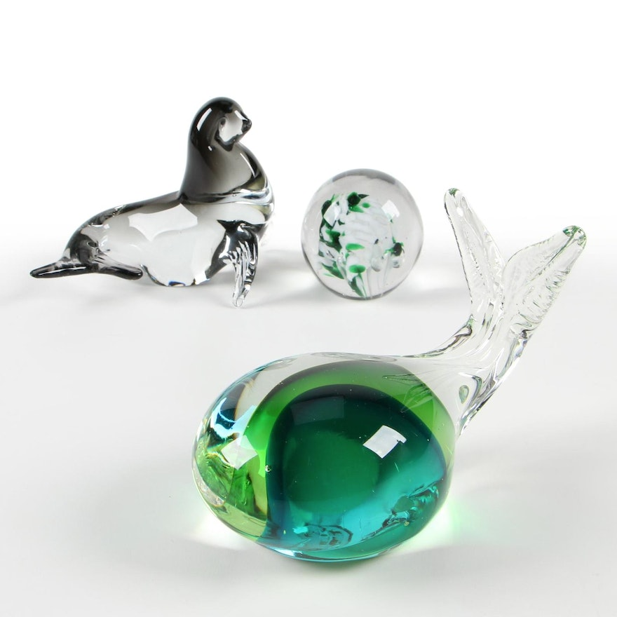 Venetian Art Glass Whale and Seal Figurines with Paperweight
