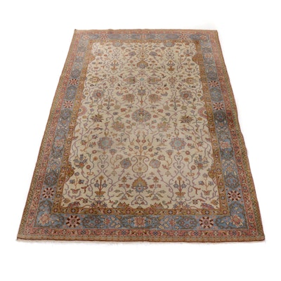 6'5 x 10'1 Hand-Knotted Turkish Oushak Rug, circa 1930
