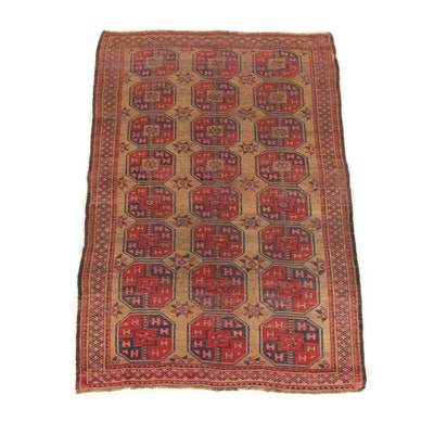 4'10 x 7'6 Handwoven Turkmen Ersari Bokhara Wool Rug