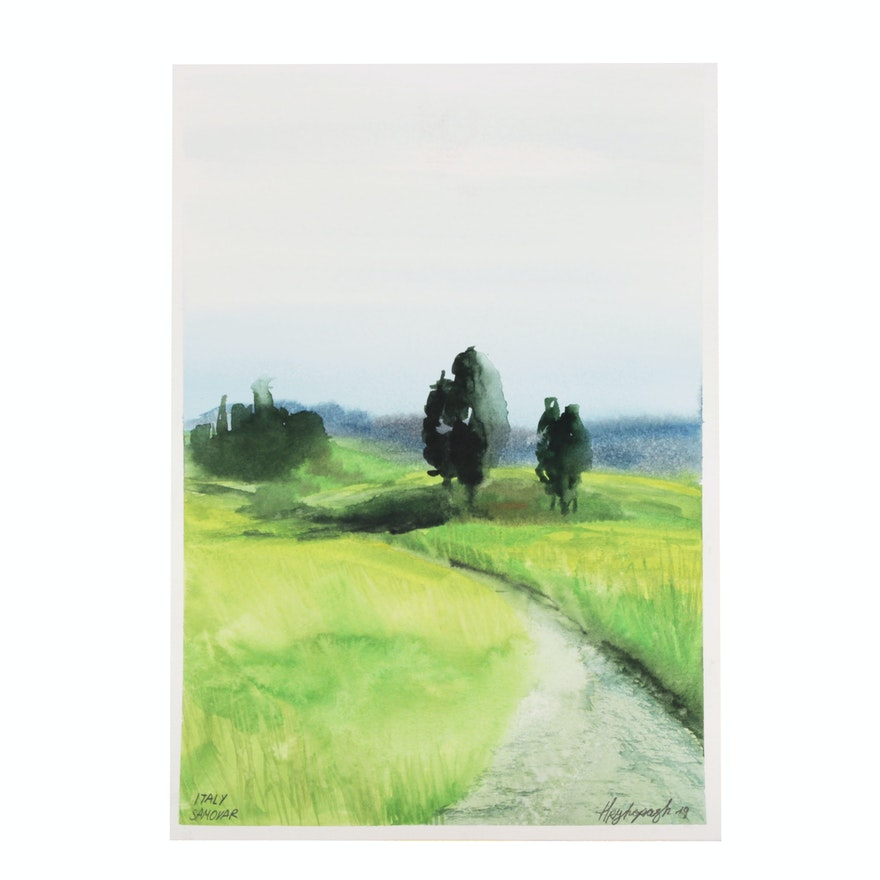 Watercolor Painting of a Landscape