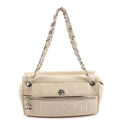 Chanel 50s Chain Shoulder Bag in Perforated Lambskin Leather