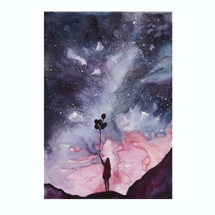 Watercolor Painting of Night Sky Scene