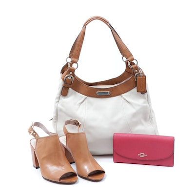 Coach Soho Leather Shoulder Bag and Crossgrain Clutch with Vince Camuto Sandals
