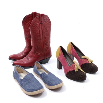 Laredo Red Leather Western Boots, Pilero Suede Block Heels and Ugg Slip-Ons
