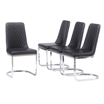 Contemporary Modern Vinyl Upholstered Chrome Base Side Chairs
