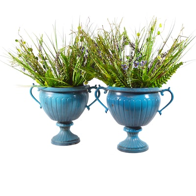 Pair of Aqua Painted Metal Urn Planters, Contemporary