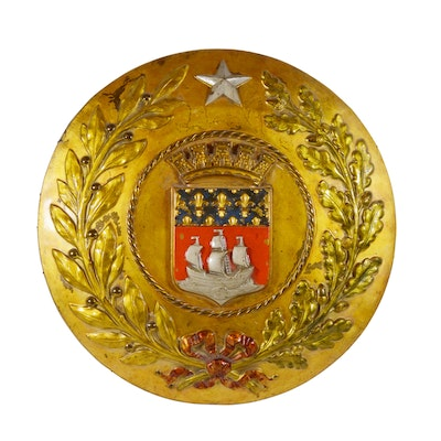 Republic of France Metal Covered Wood Wall Medallion, Antique