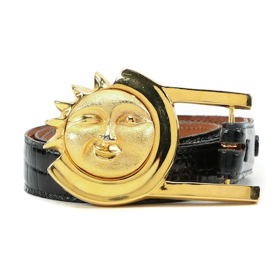 Barry Kieselstein-Cord Alligator Belt with Sterling Sun Buckle in Gold Finish