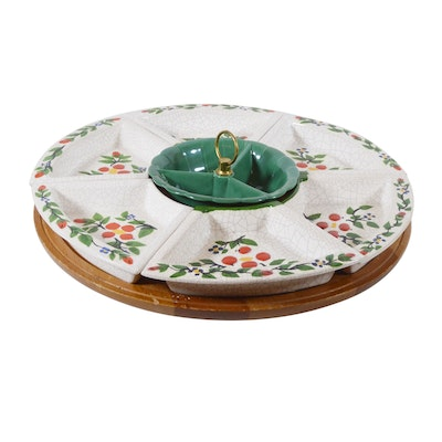 Appetizer Pottery Serving Dishes on Wood Lazy Susan, 1950s