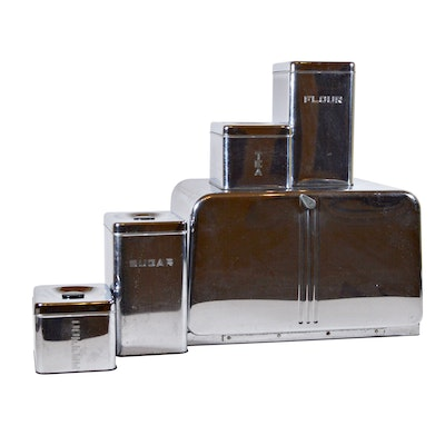 Lincoln Beautyware Chrome Canister Set and Bread Box, Mid-20th Century