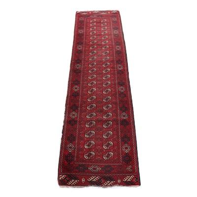 2'5 x 9'8 Hand-Knotted Afghani Turkoman Rug Runner, circa 1990