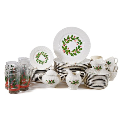 "Scio Pottery Co. ""Holly"" Ironstone Dinnerware, Twelve Place Settings, 64 Pieces"