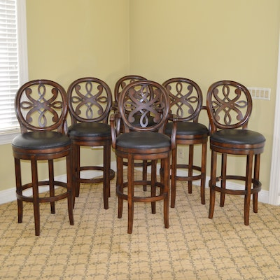 Medallion Back Faux Leather Swivel Bar Stool Set, Contemporary