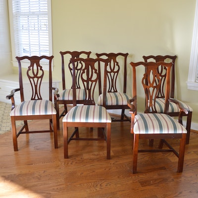 Thomasville Chippendale Style Mahogany Dining Chair Set, Late 20th Century
