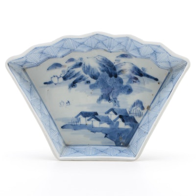 Japanese Hand-Painted Blue and White Porcelain Dish with Landscape Scene
