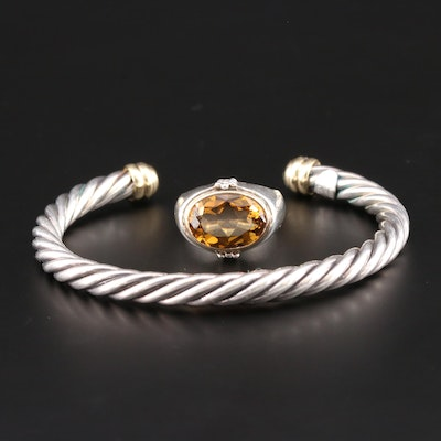 Sterling Filli Menegatti Cuff Bracelet and Michael Dawkins Citrine Ring