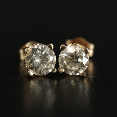 14K Yellow Gold 1.30 CTW Diamond Solitaire Stud Earrings