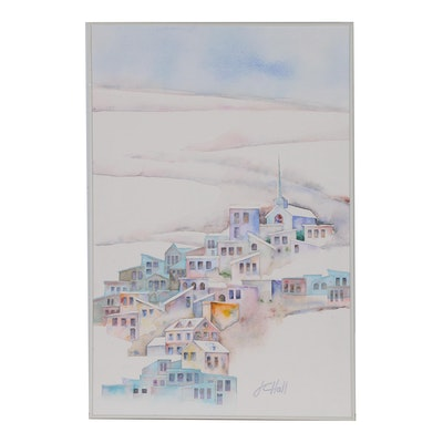 "J.C. Hall Watercolor Painting ""Pastel Winter"""