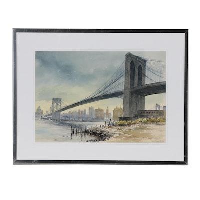 """Eva Place Clark Watercolor Painting """"Brooklyn Bridge"""""""