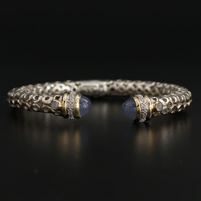Sterling Chalcedony and Diamond Cuff Bracelet with 14K Yellow Gold Accents